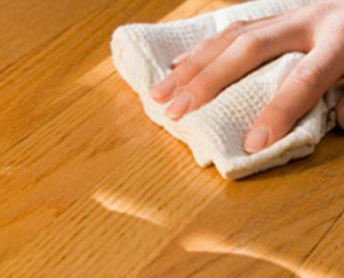 Wiping wood table