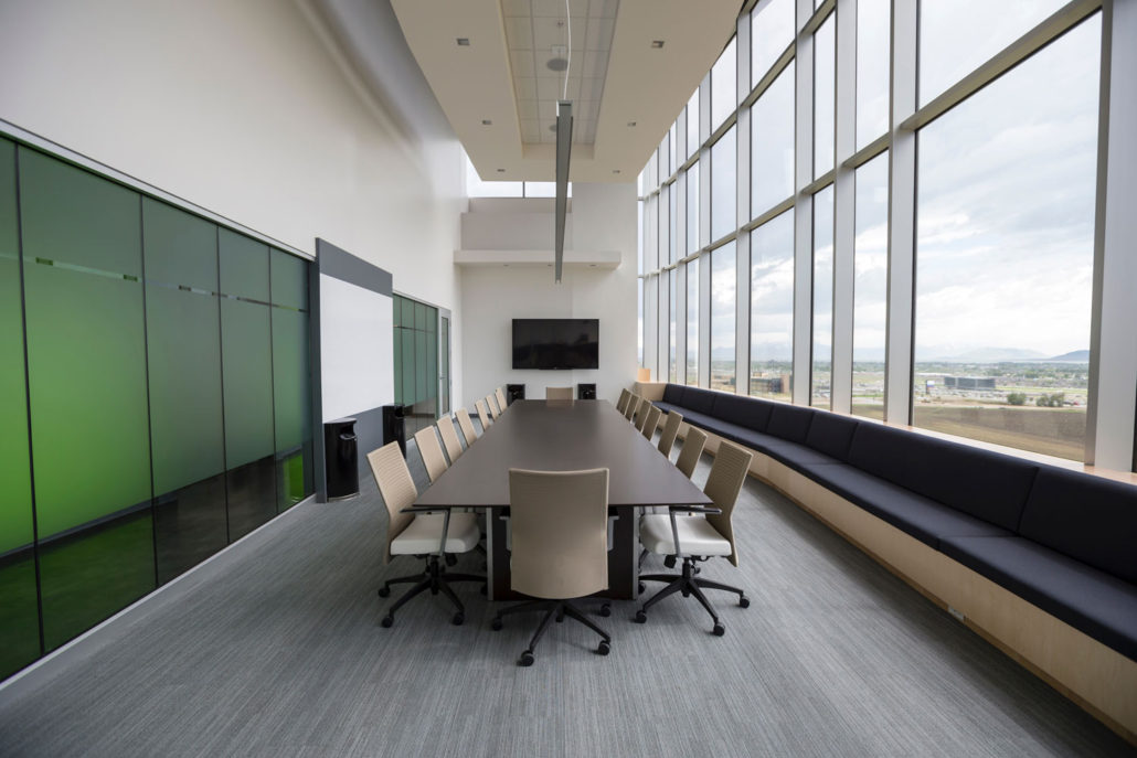 conference room and tall windows